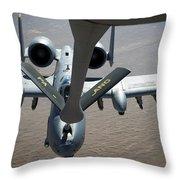 A Boom Operator Refuels An A-10 Throw Pillow by Stocktrek Images