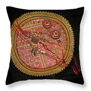 A Bowl Of Rakhis In A Decorated Dish Throw Pillow