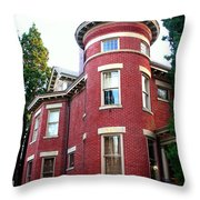 A Brick House With A Turret Throw Pillow