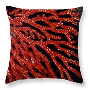 A Bright Red Gorgonian Soft Coral Throw Pillow