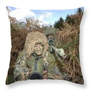 A British Army Sniper Team Dressed Throw Pillow