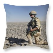 A British Army Soldier On A Foot Patrol Throw Pillow