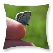 A Butterfly On The Finger Throw Pillow