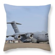 A C-17 Globemaster IIi Parked Throw Pillow