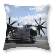 A C-2a Greyhound Taxis On The Flight Throw Pillow