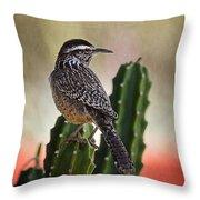 A Cactus Wren  Throw Pillow