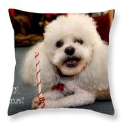 A Candycane For Puppy Throw Pillow