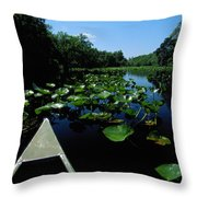 A Canoe Floats On A River Filled Throw Pillow