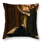 A Carol Throw Pillow by Laura Theresa Alma-Tadema