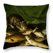 A Cat With Trout Perch And Carp On A Ledge Throw Pillow