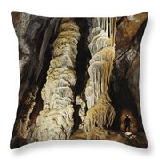 A Caver Is Dwarfed By Giant Calcite Throw Pillow