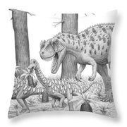 A Ceratosaurus Chasing Young Throw Pillow