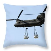 A Ch-47 Chinook Carrying Sandbags Throw Pillow