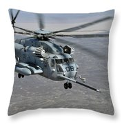 A Ch-53e Super Stallion Approaches Throw Pillow