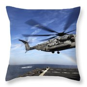 A Ch-53e Super Stallion Prepares Throw Pillow