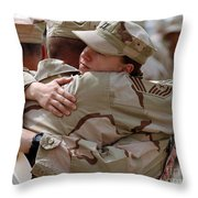 A Chief Master Sergeant Consoles Throw Pillow