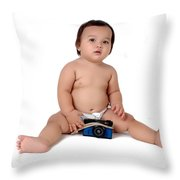 A Chubby Little Girl Sit With A Vintage Camera  Throw Pillow