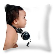A Chubby Little Girl With Headphones Throw Pillow