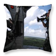 A Cinematographer Videotapes A Soldier Throw Pillow