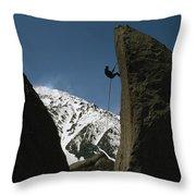 A Climber Rappels Off Grandma Boulder Throw Pillow