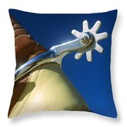 A Close-up Of A Shiny Silver Spur Throw Pillow