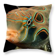 A Close-up View Of A Tropical Fish Throw Pillow