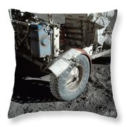 A Close-up View Of The Lunar Roving Throw Pillow