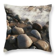 A Close View Time Exposure Of Surf Throw Pillow