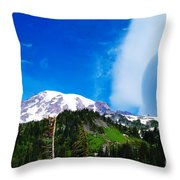 A Cloud Near Mt Rainer  Throw Pillow