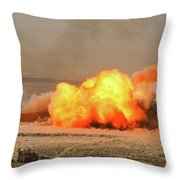 A Cloud Of Dust And Debris Rises Throw Pillow