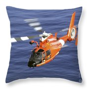 A Coast Guard Hh-65a Dolphin Rescue Throw Pillow by Stocktrek Images