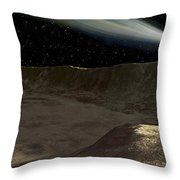 A Comet Passes Over The Surface Throw Pillow by Ron Miller