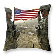 A Commander Re-enlists Master Sergeant Throw Pillow