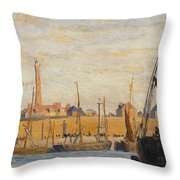 A Continental Harbor Throw Pillow by William Lionel Wyllie