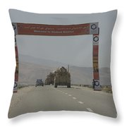 A Convoy Of Cougar Mraps Driving Throw Pillow