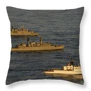 A Convoy Of Naval Ships Move Throw Pillow