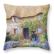 A Cottage Garden In Full Bloom Throw Pillow