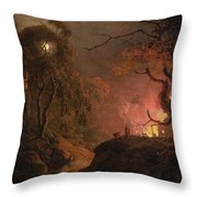 A Cottage On Fire At Night Throw Pillow
