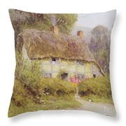 A Country Cottage Throw Pillow by Helen Allingham