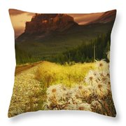 A Country Road With A Mountain In The Throw Pillow