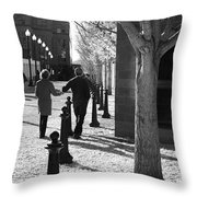 A Couple Walking Together Holding Hands Downtown Asheville Throw Pillow