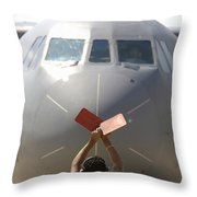 A Crew Chief Marshals In A C-141b Throw Pillow