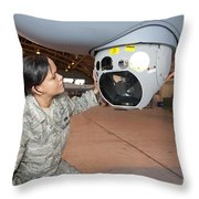A Crew Chief Works On Mq-9 Reapers Throw Pillow