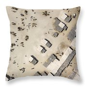 A Crowded Camel Market In Nguigmi Throw Pillow