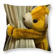 A Curtain With A Cute Stuffed Toy Throw Pillow