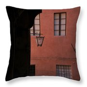 A Dark Alley Way Leads To A Lit Brick Throw Pillow