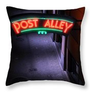 A Dark And Lonely Post Alley - Seattle  Throw Pillow