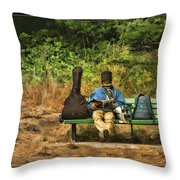 A Day On A Bench Throw Pillow