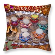 A Decorated Hindu Prayer Thaali With Wax Candles Oil Lamps Throw Pillow