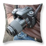A Digital Camera Is The Chief Tool Of This Photographer Throw Pillow